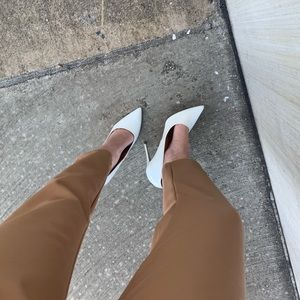 Missguided White Patent Pumps